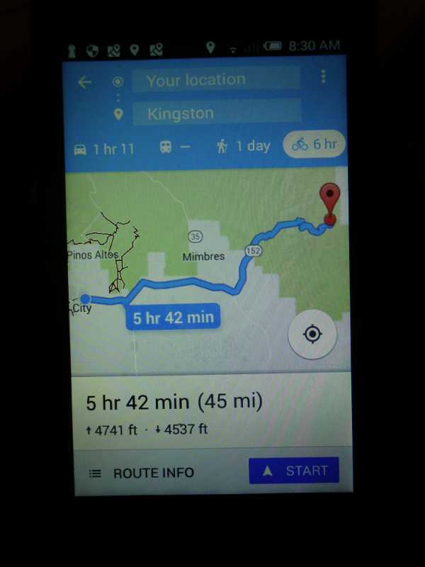 google route for today