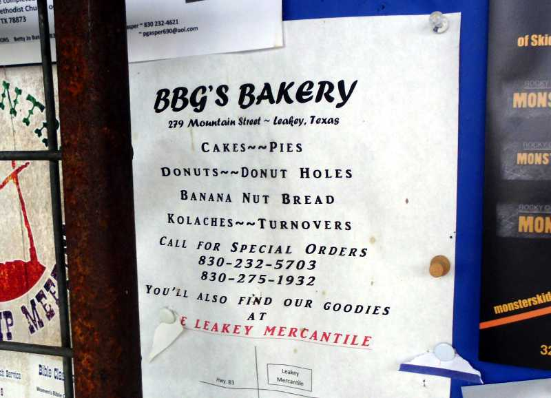 BBG's bakery sign