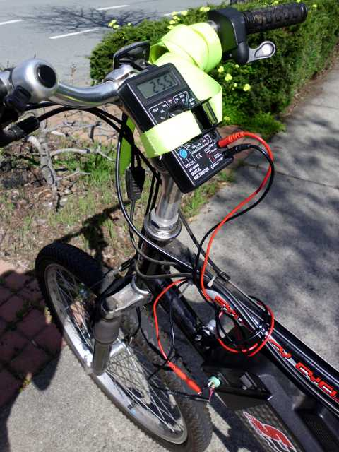 DVM monitoring electric bike battery voltage