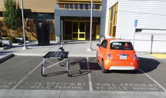 Here is the solar bike parked in the fuel efficient vehicle spot.