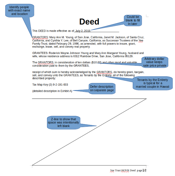 page 1 of Deed