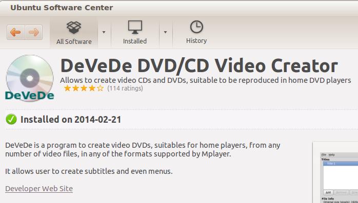 DeVeDe installed
