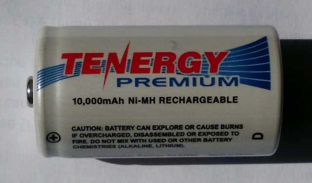 This Tenergy NiMH D-cell came from the internet. It cost $8.